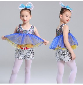 Girls kids paillette modern jazz dance costumes kindergarten kids cosplay ballet stage show performance dresses